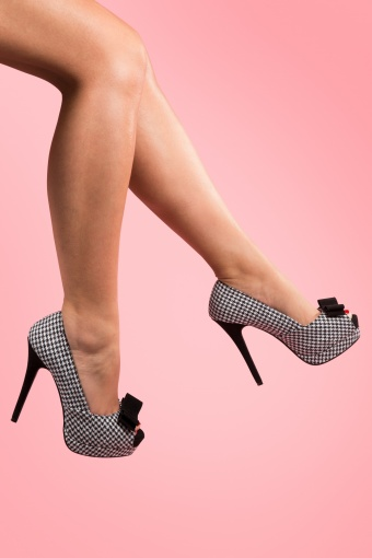 50s Bella plateau pumps Houndstooth_22-2630