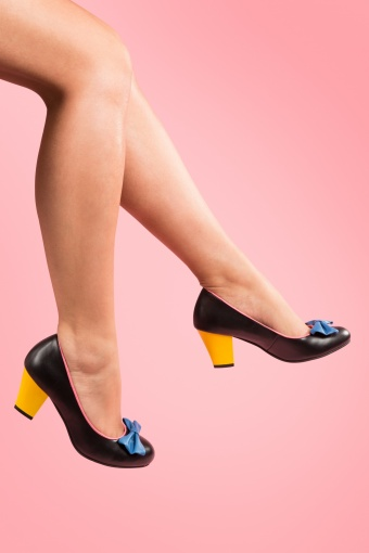 Lola Ramona Elsie Black Colorblock leather pumps_22-3956