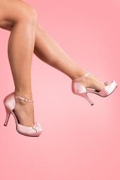 40s Cutiepie T-Strap D'Orsay Pink Satin platform pumps