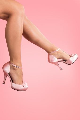 Pinup Couture 40s Cutiepie T-Strap D'Orsay Pink Satin platform pumps_22-2638V