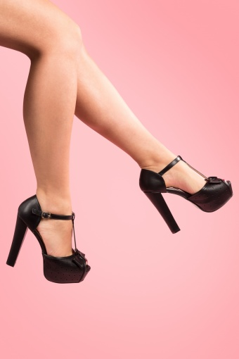 So Vintage 50s T-Strap Bow Plateau peeptoe pumps sandals in Black_22-4417_20130124_0001