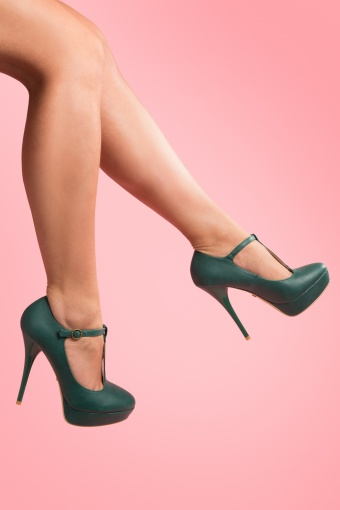 So Vintage 50s Pinup T-Strap plateau pumps in Vintage Green_22-4441