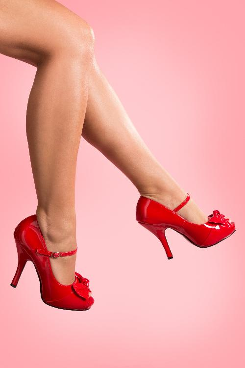 40s Cutiepie Peeptoe Bow Mary Jane Pumps in Red