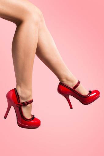 Pinup Couture Secretary Mary Jane Velvet Bow Lipstick Red platform pumps_22-2808