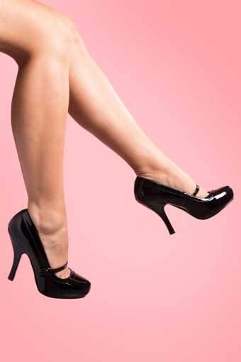 Pinup Couture 40s Cutiepie Mary Jane Black platform lak pumps_22-2511