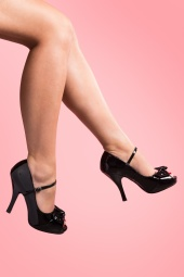 40s Cutiepie Peeptoe Bow Mary Jane Black platform pumps