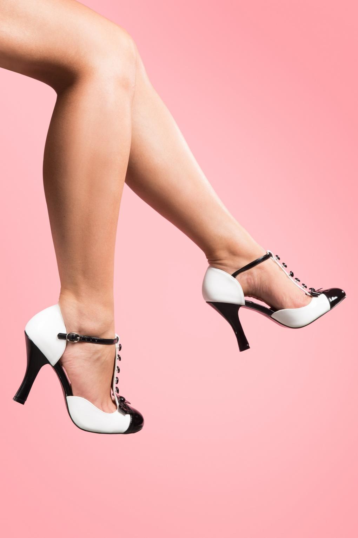 Pin Up Shoes- Heels & Flats 40s Smitten T-strap Dorsay pumps black white £59.10 AT vintagedancer.com