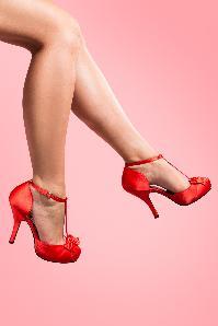 Pinup Couture 40s Cutiepie T-Strap D'Orsay Red Satin platform pumps_22-2639