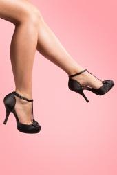 Pinup Couture 40s Cutiepie T-Strap D'Orsay Black Satin platform pumps_22-2737