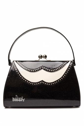 Glamour Bunny 50s Classic Brogue Handbag Creme Black Glitter patent_88-4425_0002