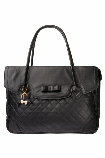 Camomilla 50s Boston bag office black quilted Bow_88-4332_0004