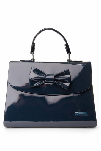 50s Glossy Kelly Bag Bow Midnight Blue small_88-4333_0002