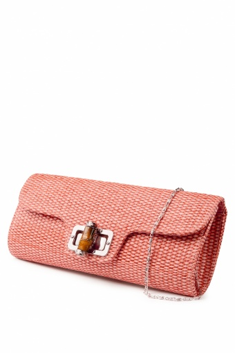 Collectif Clothing 50s Bamboo Clutch Salmon Pink_88-3793