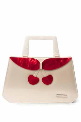 40s Debbie Lucite Patent Cherry Retro handbag Champagne_88-4213