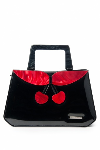 Collectif Clothing 40s Debbie Lucite Patent Cherry Retro handbag black_88-4210