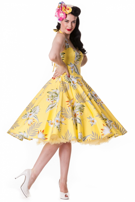 50s Retro Halter 50s Alika Tropical Dress In Yellow Hibiscus