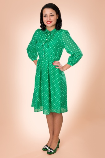 Edith & Ella Pretty Green White Polka Dot Silk Dress_44-4507_20130221_0024