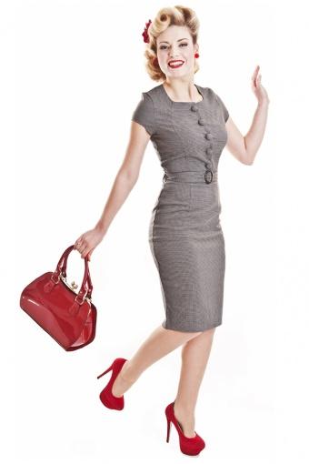 Collectif Clothing 50s Simone Pied de Poule dress Grey