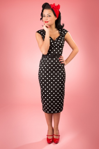 Pinup Couture TopVintage exclusive ~ Natasha Dress in Black White polka sateen_44-4587_20130228_0226