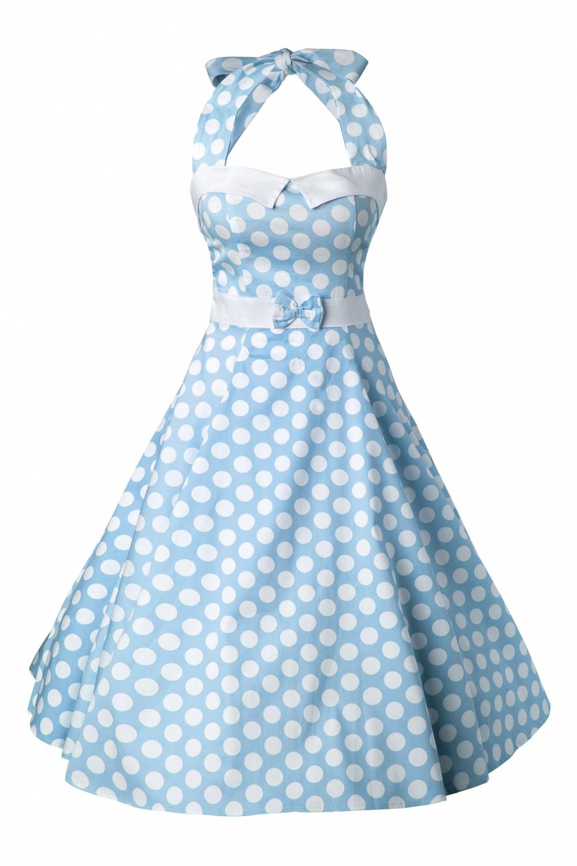 50s Stella Sweetheart Doll Baby Blue Polka Dot swing dress