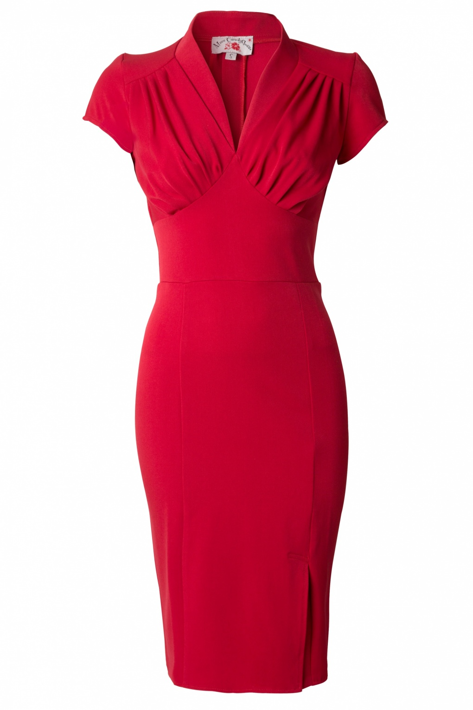50s Mavis Red Pencil Dress