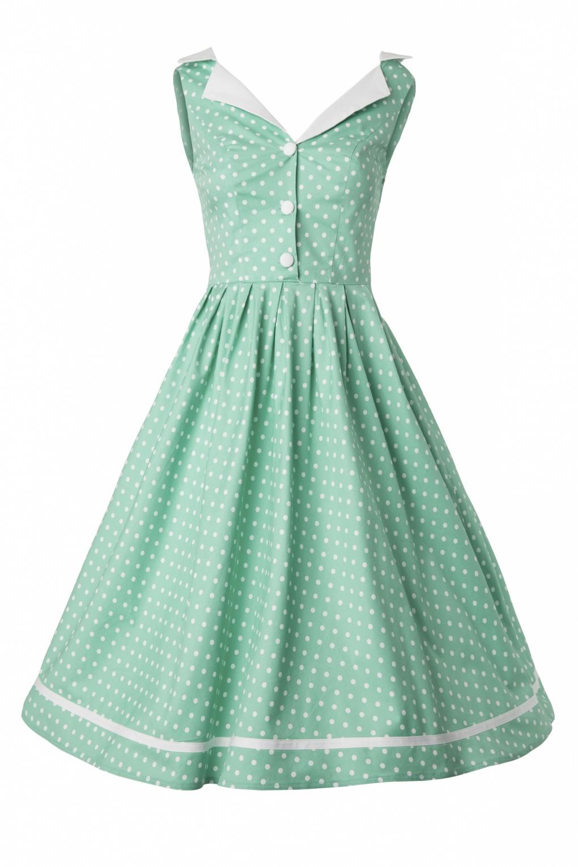50s Karen dress in Mint Green Polka Dot