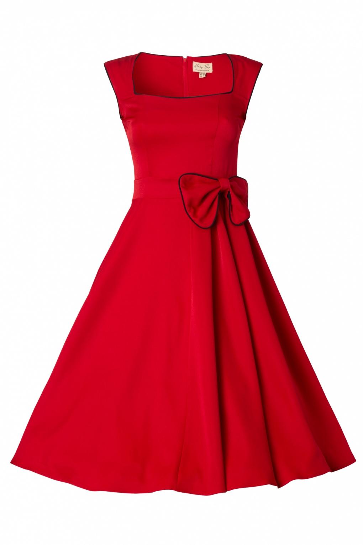 1950 S Grace Red Bow Vintage Style Swing Rockabilly Dress Ne