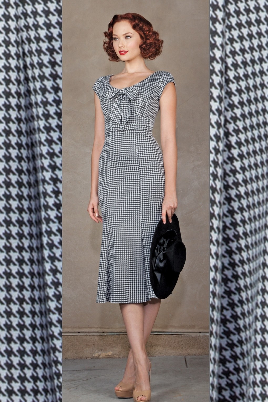 40s Black White Houndstooth wiggle dress