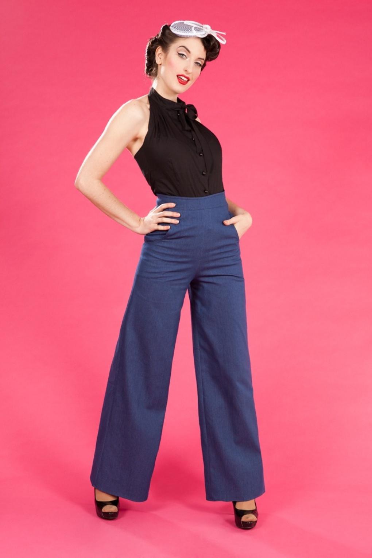 40s Katherine Hepburn High waisted Swing trousers blue denim