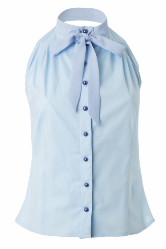 9f5c5d3f3ad38 Gigi Sleeveless Blouse with Georgette Bow in Light Blue