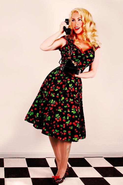 jurk met kersenprint