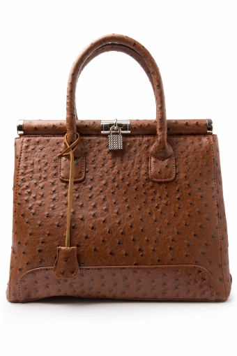 Milan Ostrich Cafe au Lait Brown Handbag_88-4716_20130424_0002