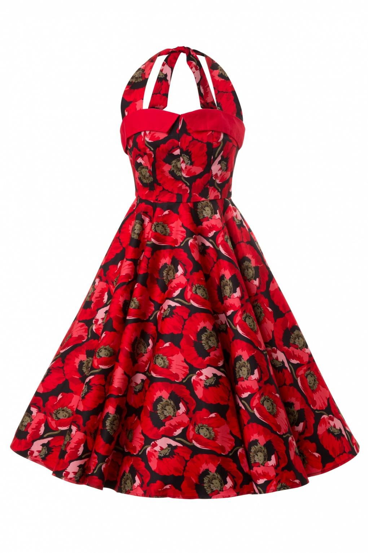 1950s Poppy Seed Red Swing Dress