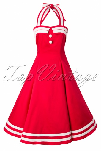 Collectif Clothing 50s Sindy Doll Sailor red swing dress_2445W