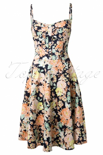 Collectif Clothing Fairy Floral Print Doll Dress Navy_44-5029_20130527_0004W