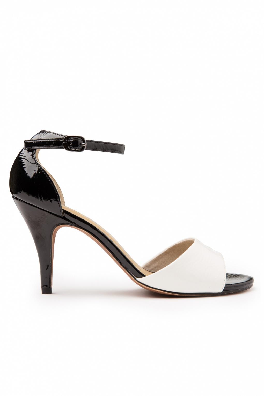 50s sirene sandalette chic black white patent. Black Bedroom Furniture Sets. Home Design Ideas
