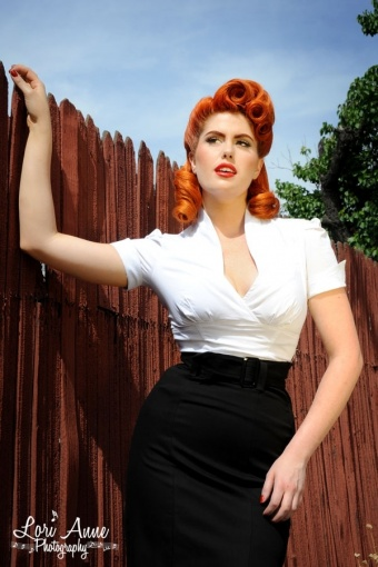 Sean top in white Pinup Couture