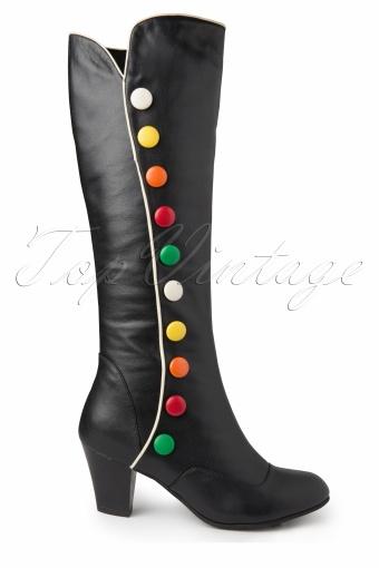 feef506e5e83b8 60s Elsie Black High Boots Multi Buttons