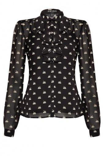swan print blouse large