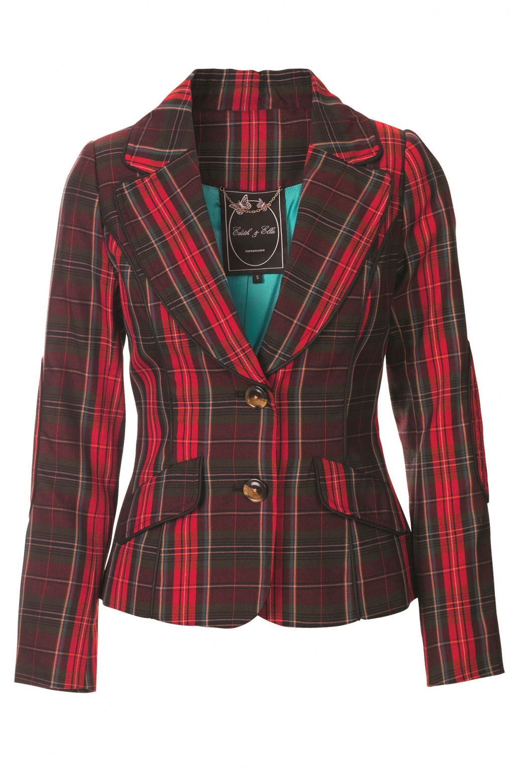 tartan blazer in red and green