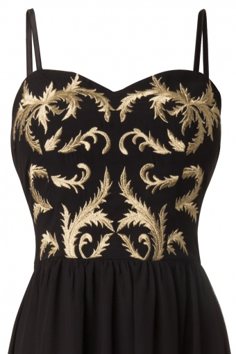 a87306d95a4 Vintage Baroque Black   Gold Embroidered Chiffon Maxi Dress