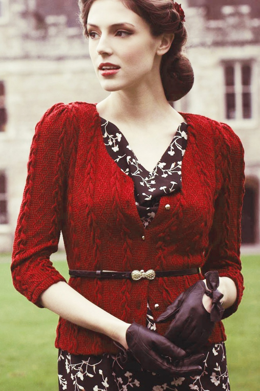 1940s Bray Cardigan In Red
