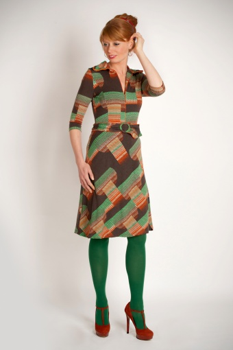 Retro Kleding.70s Retro A Line Dress In Brown