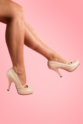 40s Cutiepie Mary Jane Beige platform pumps