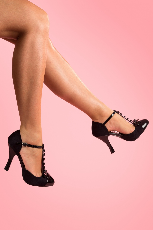 Pin Up Shoes- Heels & Flats 40s Smitten T-strap Dorsay pumps black £59.10 AT vintagedancer.com