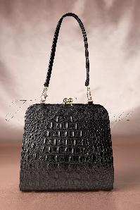 40s Marie Kiss Lock Bag Croc Black