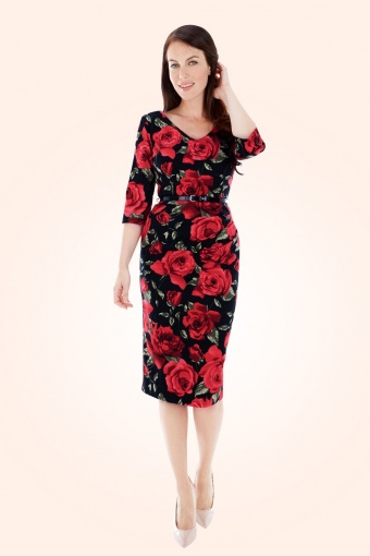 burbank sorento black floral pencil dress