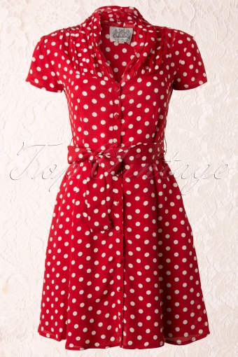 The Seamstress of Bloomsbury Paula Dress Red spot Polkadot 104 27 11868 20131112 0002K