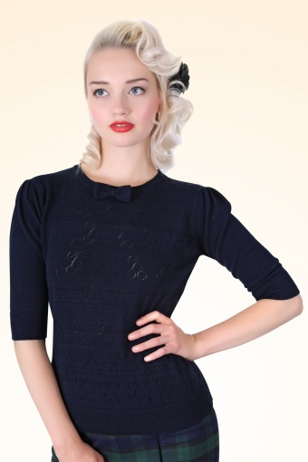 Annie Cherry Top Navy