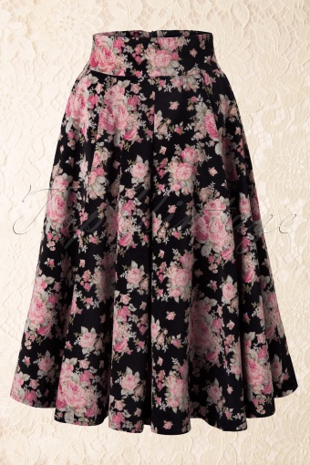 Collectif Clothing  Forence Velvet Floral Skirt 122 14 11910 20131120 0006K